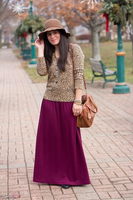 leopard + burgundy maxi skirt