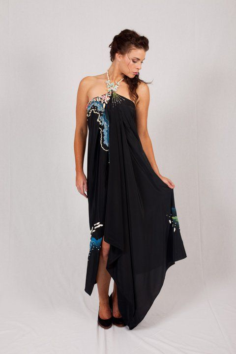 Black flowing halter gown  http://www.arcarocouture.com.au/