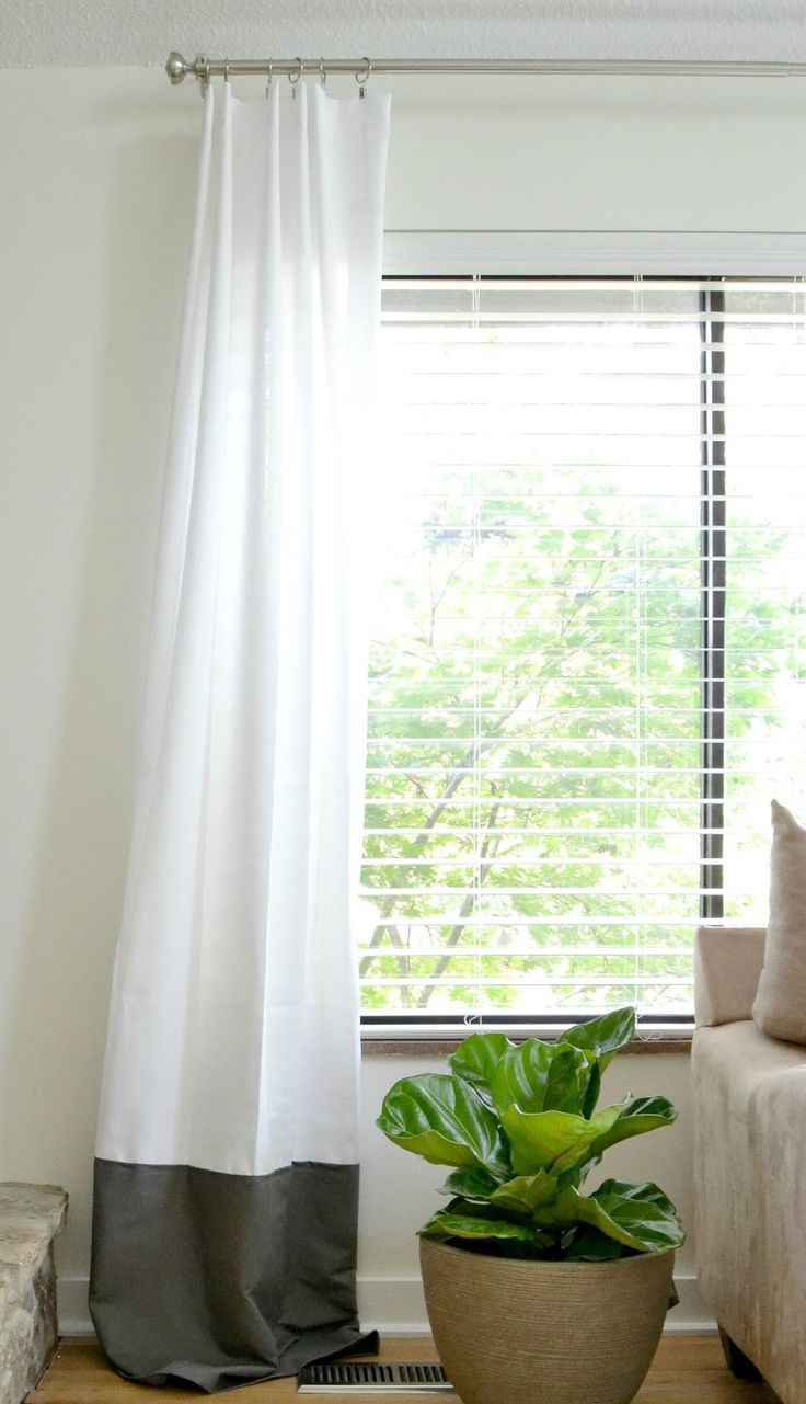 DIY no sew two-toned curtains! Great tutorial on how to easily add length and style to any basic curtain panel!
