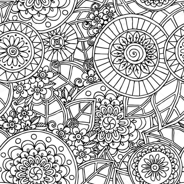 Asiatiche senza giunte etnico floreale retrò sfondo bianco e nero modello nel vettore di doodle. Henna mehndi paisley doodles modello tribale di progettazione. Utilizzate la maschera di ritaglio per un facile editing