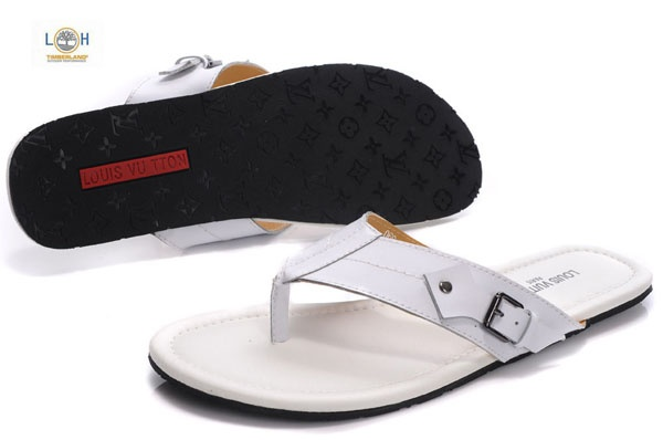 Louis Vuitton mens leather flip flops with buckle in white Louis Vuitton mens. Hubby will look good in these