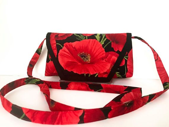 Red Poppy Crossbody bag Red Sling Bag Funky by AddaSplashofColour