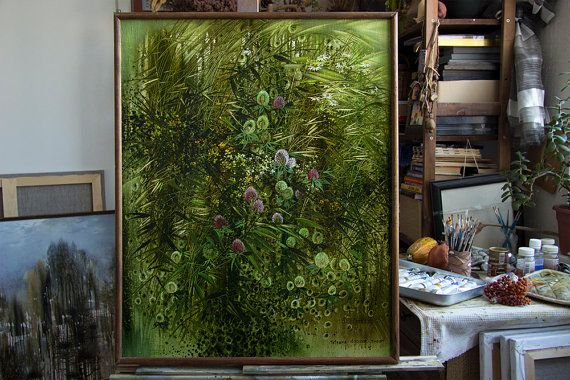 "Artist Tatyana Goodz. Oil painting ""Clover"" original artwork large 56x70"