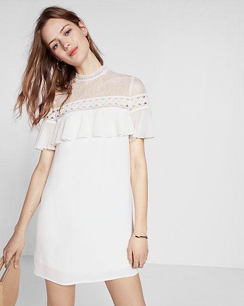 lace yoke ruffle short sleeve shift dress