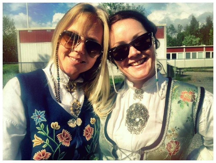 """This is Anne Cecilie & Marit dressed in their Norwegian national costume the """"bunad"""", and also wearing Grannycords - www.grannycords.com."""