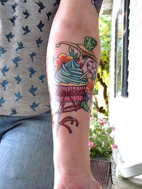Cupcake and candy tattoo