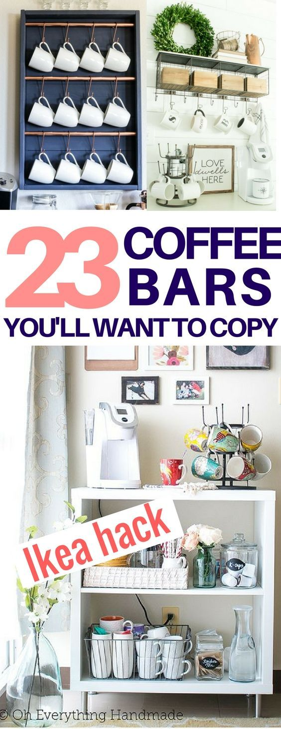 I found the EXACT diy coffee bar look I want! diy coffee stations, diy home decor, diy room decor, ikea hack, farmhouse decor ideas