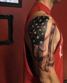 Arm Black Mexican And American Flag Tattoos For Guys