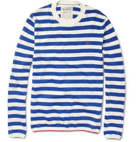 AUBIN & WILLS STRIPED COTTON AND CASHMERE-BLEND SWEATER: Cashmereblend Sweaters, Stripes Aubin, Stripes Sweaters, Clowns Wear, Cashmere Blend Sweaters Mr, Cashmere Sweaters, Stripes Cotton, Blue Stripes, Aubin Will