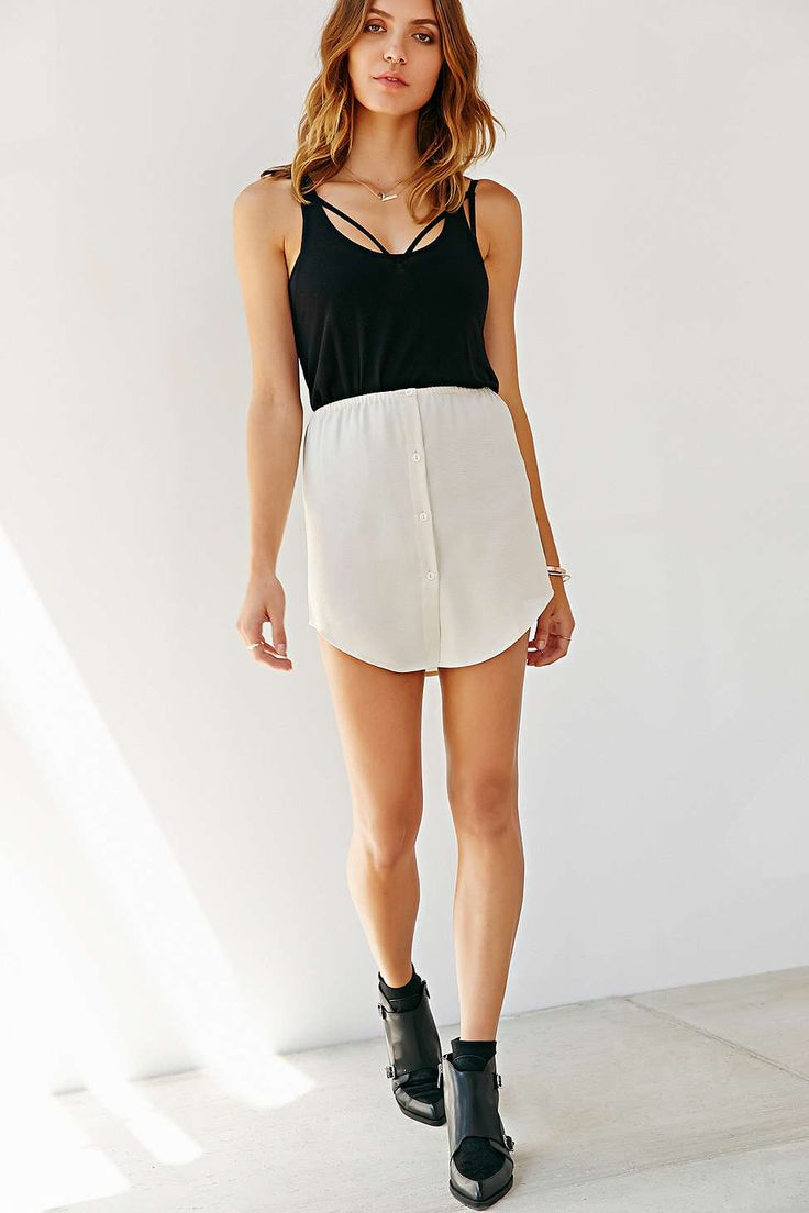 Silence + Noise Silky Button-Down Shirttail Skirt - Urban Outfitters