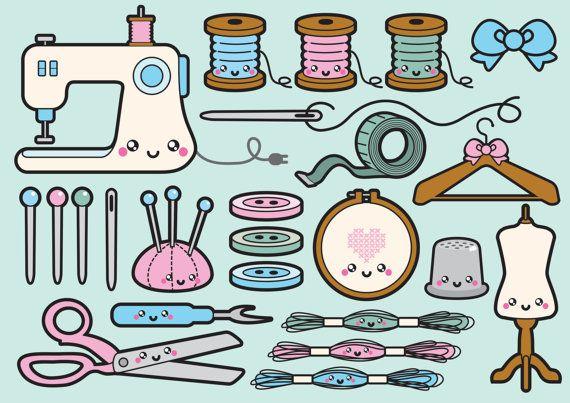 Premium Vector Clipart – Kawaii Sewing Clipart – Kawaii Sewing Clip art Set – High Quality Vectors – Instant Download – Kawaii Sew Clipart