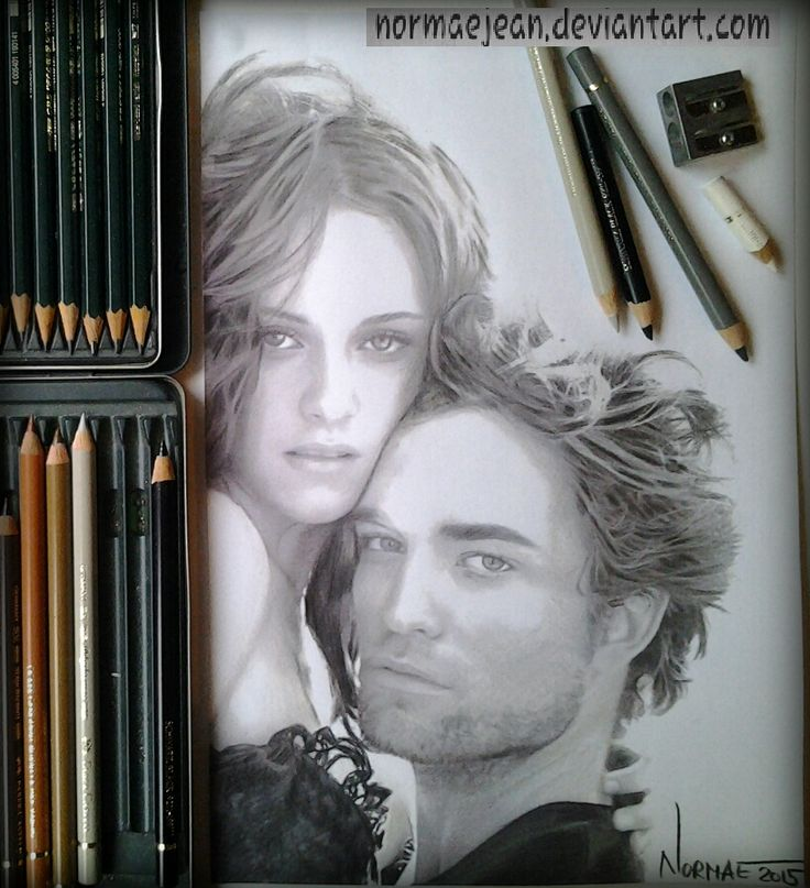 Normaearts drawing Robert Pattinson and Kristen by NormaeJean.deviantart.com