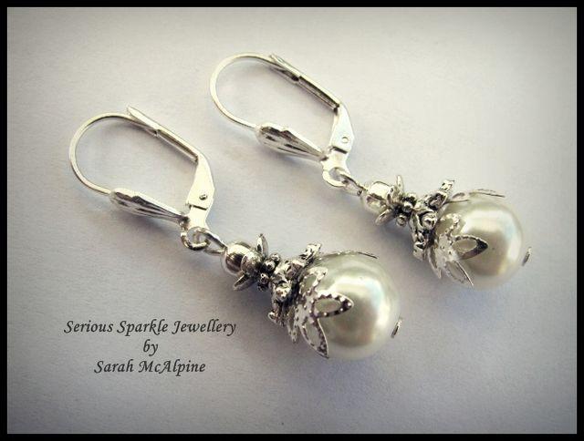 Handmade Vintage Style White Pearl Drop Earrings $17.90