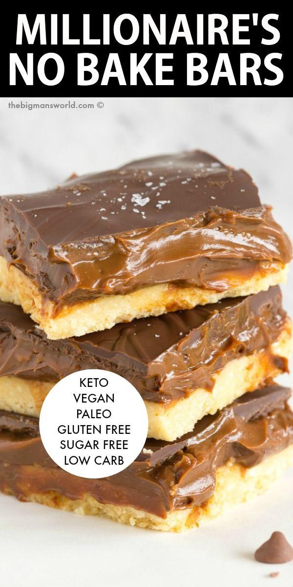 No Bake Millionaire Shortbread Keto Vegan The Big Man S World Recipe In 2020 Low Carb Recipes Dessert Sugar Free Recipes Sugar Free Snacks