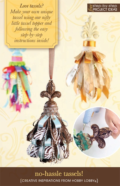 Love tassels? Make your own unique tassel using our nifty little tassel topper and following the easy step-by-step instructions inside!: Hobbies Lobbies, Fans Pull, Diy Tassels, Lobbies Link, Tassels Tops, Box Tops, Fabrics Tassels, Christmas Ornament, Diy Projects