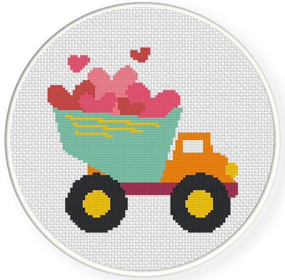 INSTANT+DOWNLOAD+Stitch+Valentine+DumpTruck++by+DailyCrossStitch,+$2.99
