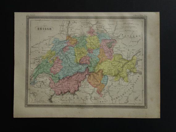 Over 137 year old map of Switzerland 1878 by VintageOldMaps