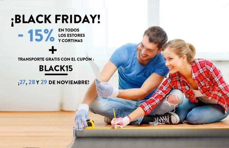 ¡Prepárate para el Black Friday! Descuento del 15% en todas las cortinas y estores + transporte gratis. ¡Solo el 27, 28 y 29 de noviembre, aprovecha!  www.kaaten.com