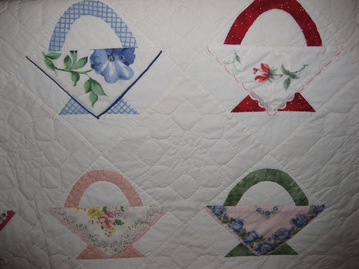 Basket quilt with vintage hankies.