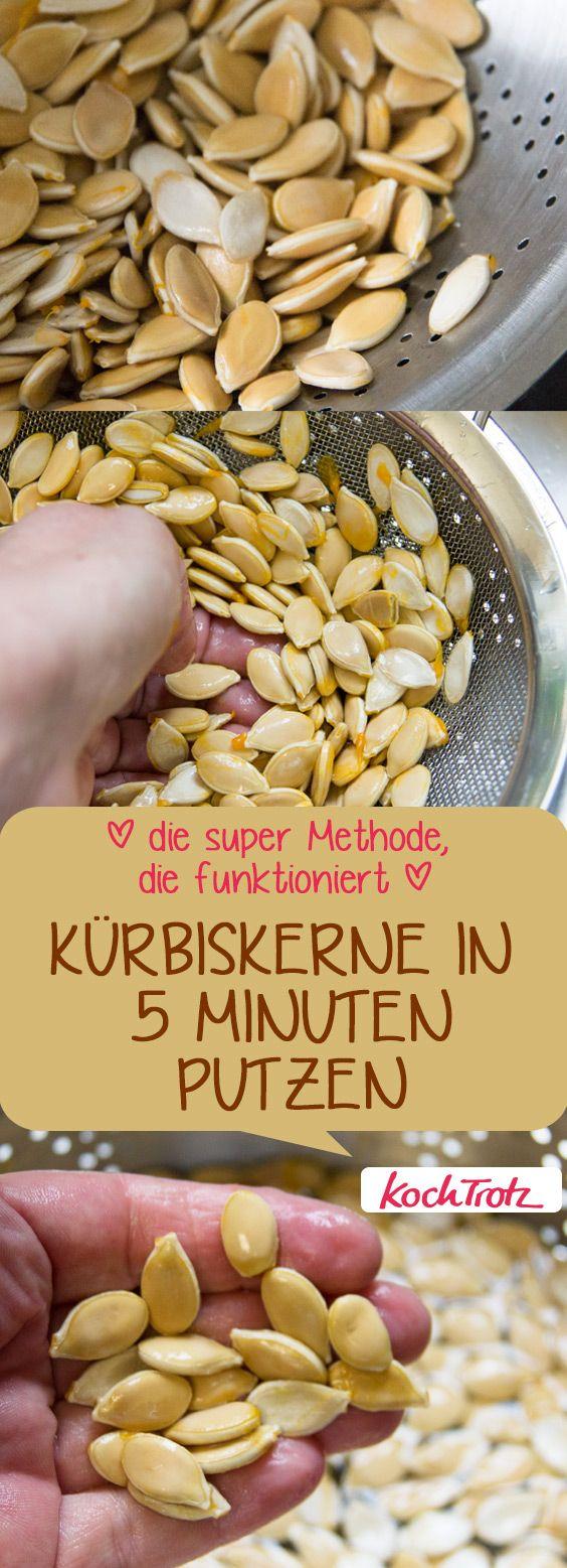 Kürbiskerne in 5 Minuten putzen – länger dauert es garantiert nicht | die KochTrotz Express-Methode #kürbis #kürbiskerne #putzen
