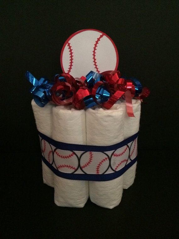 Baseball Diaper Cake- Sports themed shower, its a BOY, baby shower cakes, shower centerpieces, baseball themed, lil slugger on Etsy, $9.75