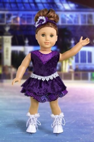 DreamWorld Collections Ice Skating Queen - Outfit includes Purple Leotard with Ruffle Skirt, Decorative Head Band and White Skates - Clothing for 18 inch Dolls : Activewear Doll Clothes