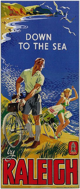Raleigh Bikes Poster - Down to the sea! #retro #poster #raleighbikes