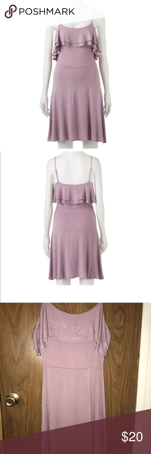 Pink Republic double Ruffle Skater Dress PRODUCT FEATURES •Ruffle bodice •Scoopneck •Adjustable spaghetti straps •Unlined FIT & SIZING •34-in. approximate length from shoulder to hem •Skater design FABRIC & CARE •Rayon, spandex Pink Republic Dresses Midi
