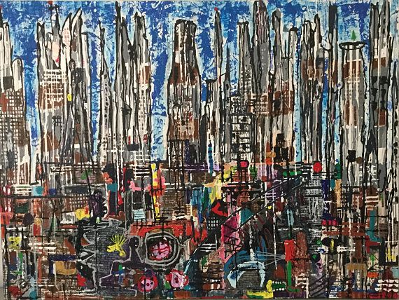 City Rife. Abstract painting canvas modern acrylic