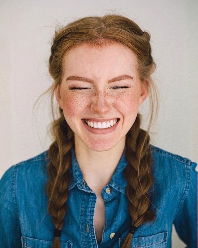 Freckles, braids, redhead, ginger, thick eyebrows, denim shirt, selfie, braided…