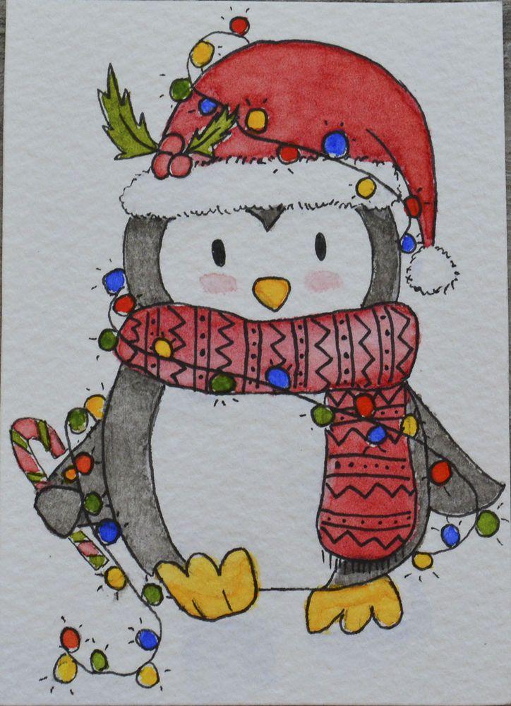 714dfee2d59d3 ACEO Original Watercolour and Pen - Penguin Christmas Collection ...