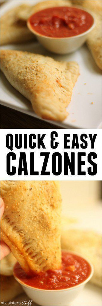 Quick & Easy Calzones from SixSistersStuff.com | These quick and easy calzones are so tasty! They make a perfect family weeknight dinner idea!