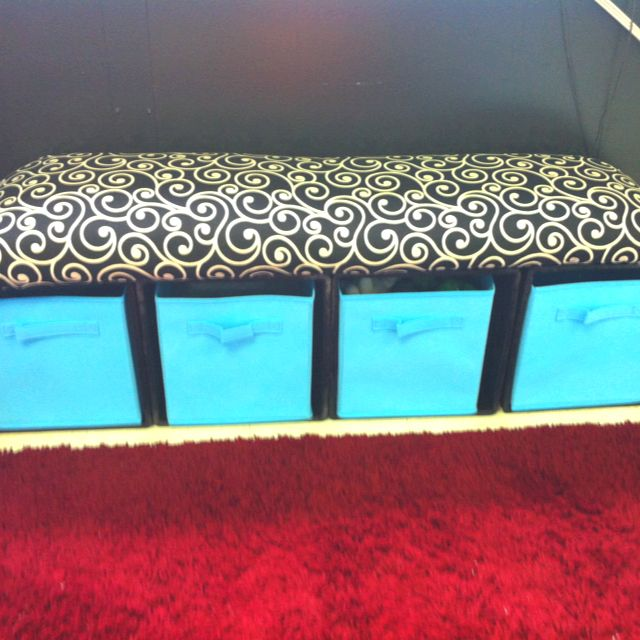 Crate bench using milk crates, organizer boxes, and DIY bench top