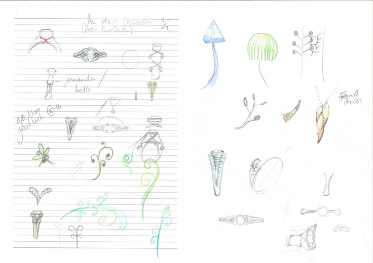 Alice Herald designer sketches for 1791 engagement rings collection spring 2012