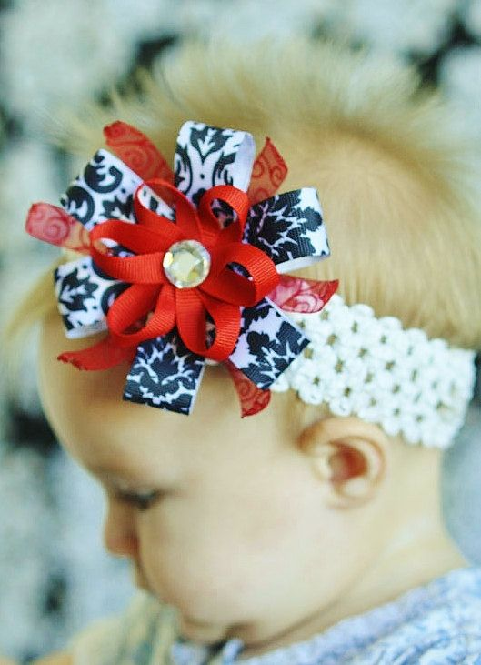 baby girl hair bow... infant ribbon flower Clip ... infant headband. .. pretty hairbow for newborn, toddler and little girls...baby bow