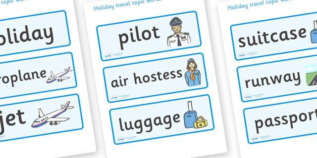 Twinkl Resources >> Holiday & Travel Topic Word Cards  >> Thousands of printable primary teaching resources for EYFS, KS1, KS2 and beyond! holidays, word card, flashcards, labels, holiday, travel, role play, display poster, poster, sign, holidays, agent, booking, plane, flight, hotel,
