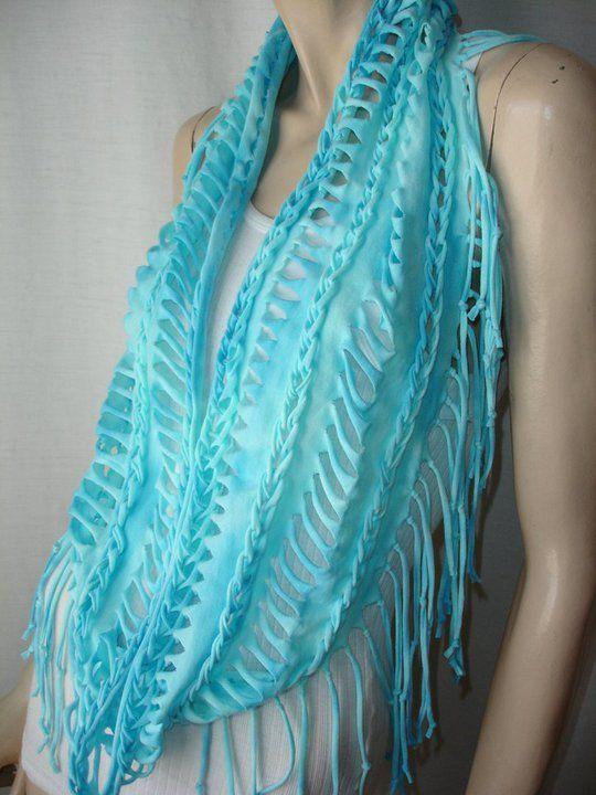 рукодельные шарфы из футболок 04