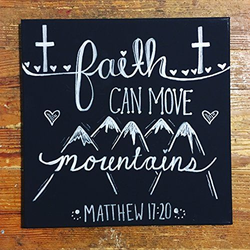 """Religious, Inspirational Hand Painted Canvas Wall Art """"Faith Can Move Mountains"""""""