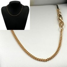 45cm Yellow Gold Round Curb Chain Necklace - GN-C50
