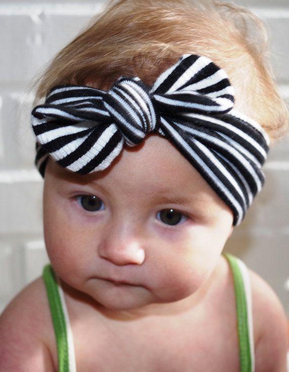 Blanco y negro raya bebé turbante  bebé rayas turbante