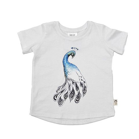 T-Shirt - Peacock  Printed super soft and stretchy 100% Organic Cotton T-Shirt. The unisex shape makes it super comfortable wear. Match it with our Peacock 'Desert-Flower' Pant.   Illustrated digital print of peacock on white.
