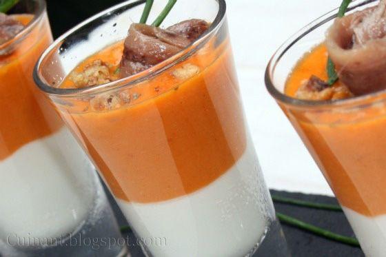 Un aperitivo que os aconsejo que lo probéis, no hace falta tener invitados para poner en la mesa estos vasitos, los vi en Gastronom...
