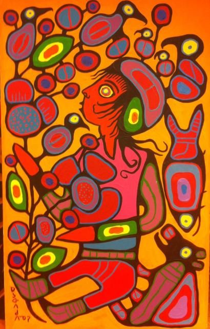 "Norval Morrisseau  'Children in the Tree of Knowledge' 1996.  A masterpiece from the ""Picasso of the North"""