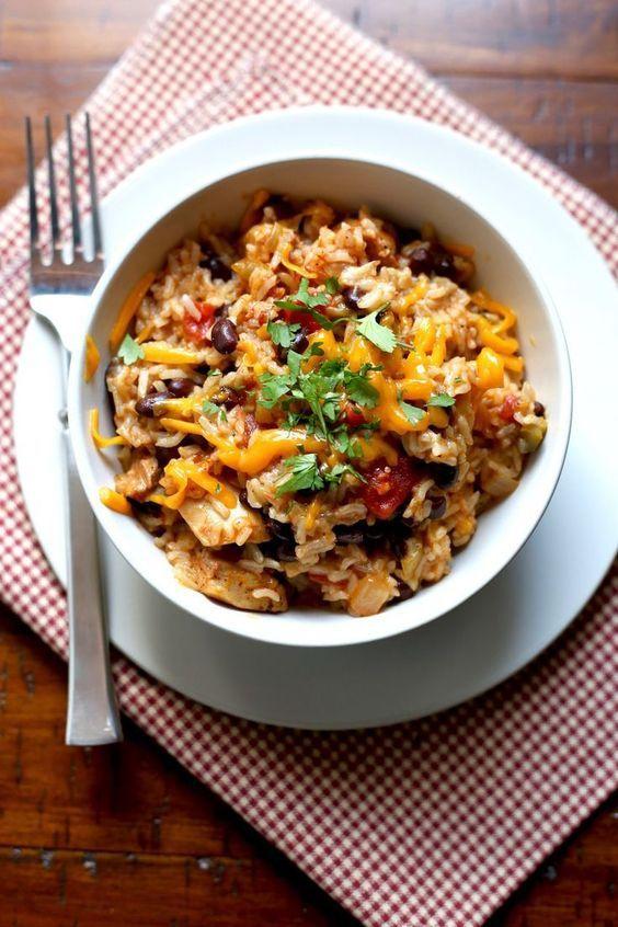 Pressure Cooker Chicken, Black Bean, and Rice Burrito Bowls. Easy to Make. Instant Pot Recipe.
