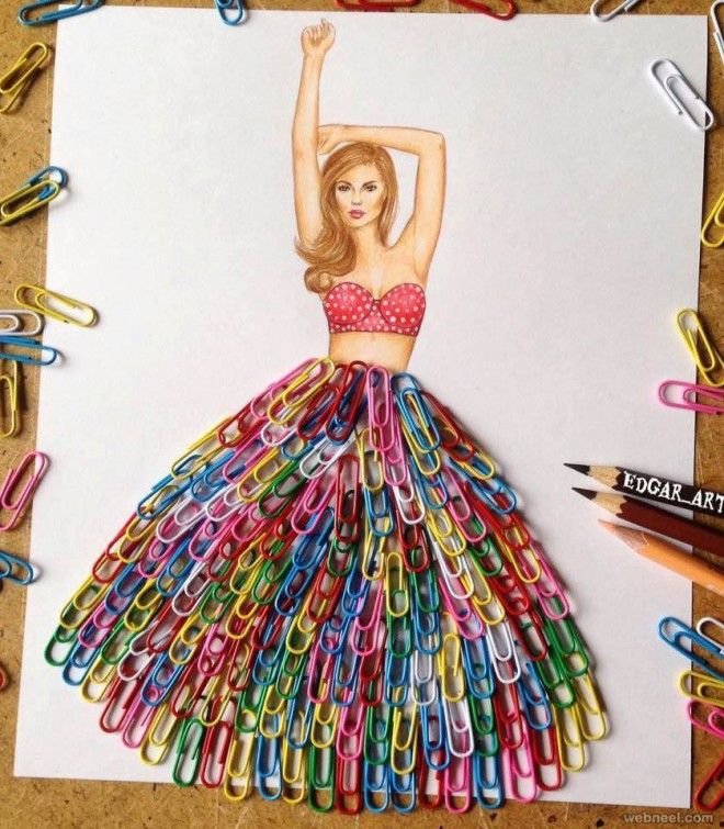 Bright paper clip skirt.......    - art by Edgar Artis, via Webneel