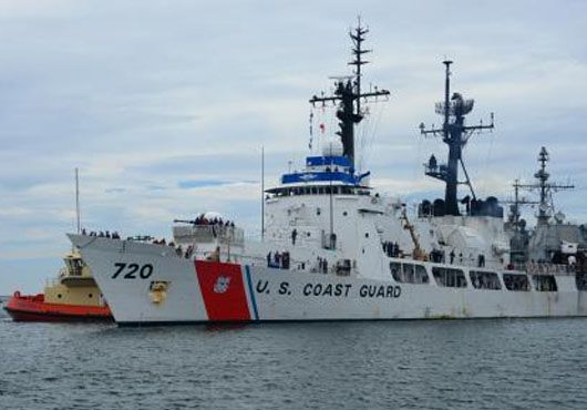 The officers and crew of U.S. Coast Guard Cutter Sherman returned home to San Diego, on August 26, after a successful three-month patrol conducting frontline maritime drug interdictions and training in the Eastern Pacific Ocean off the coast of Central America.The crew of the 378-foot high-endurance cutter partnered with the U.S. Coast Guard Helicopter Interdiction Tactical Squadron based out of Jacksonville, Fla., to successfully intercept three vessels suspected of drug smuggling.