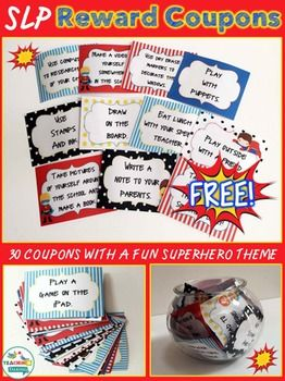 Superhero Reward CouponsHere is a fun freebie for your Speech Room!If you are sick and tired of keeping up with your prize box, try reward coupons as an alternative for…