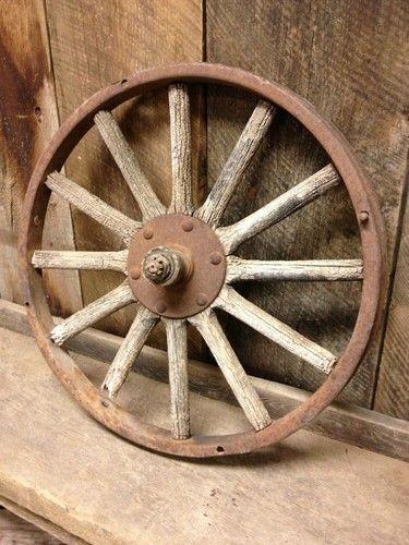 "old wagon wheel 22"" farm garden decor restaurant rustic metal barn"