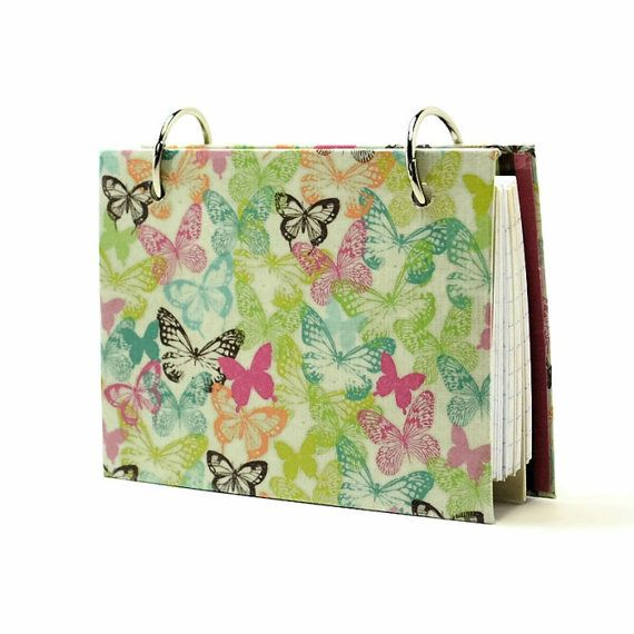 3 x 5 index card binder, butterflies and stripes, recipe holder, daily journal, index card holder with a set of index card dividers