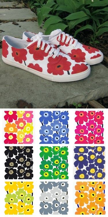 DIY Sharpie Marimekko Floral Sneakers. Top Photo: DIY by Just Crafty Enough, Bottom Photo: Color combinations from Marimekko's timess Unikko fabric with poppies here. Tutorial from Just Crafty Enough. *I'd use Stained by Sharpie Pens that you can even wash.